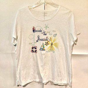 Talbots Womens Plus Size 2X Graphic T-Shirt White
